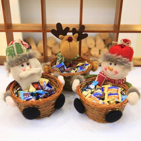 Visland Christmas Santa Reindeer Wooden Candy Basket Storage Container Desktop Ornament - image 7 de 7