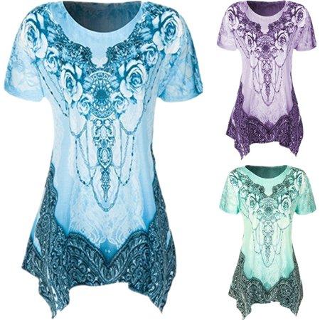 Fashion Short Sleeve Boat Neck (Plus Size Women's Fashion Casual Round Neck Short Sleeve Printing Loose Tank T-shirt Tops )