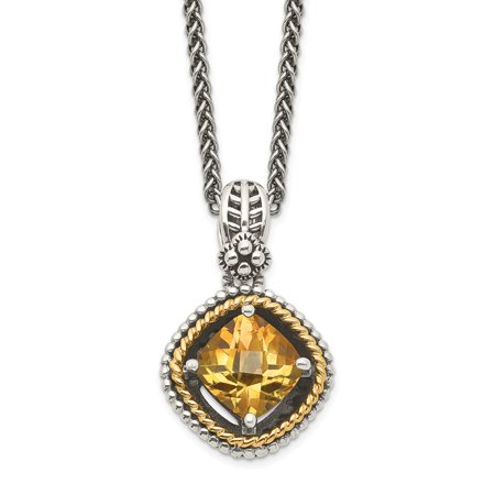 Roy Rose Jewelry Shey Couture Collection Sterling Silver with 14K Yellow Gold Citrine Necklace 18