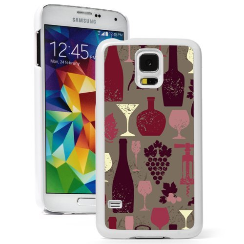 Samsung Galaxy (S5 Active) Hard Back Case Cover Red White Wine Vintage Pattern (White)