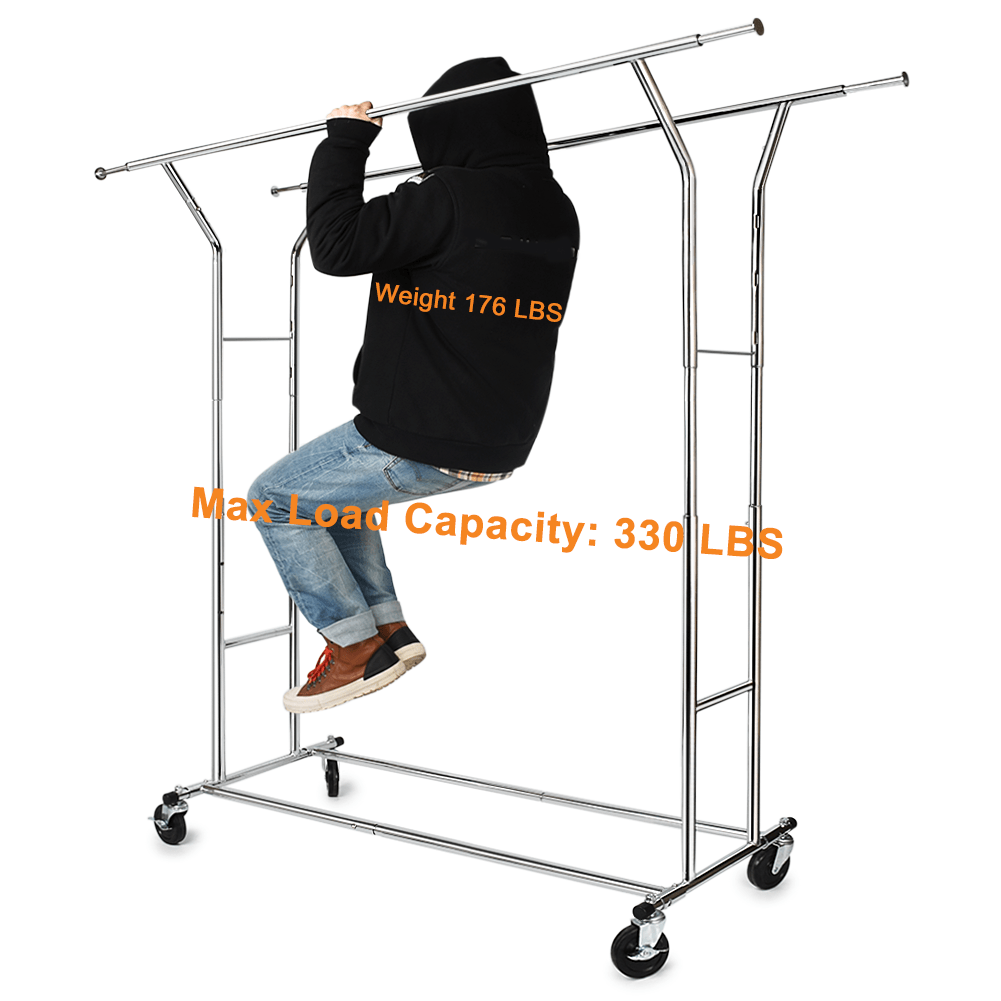 330 LB Heavy Duty Clothing Garment RacksCommercial Grade Adjustable Collapsible Rolling Clothes Rack