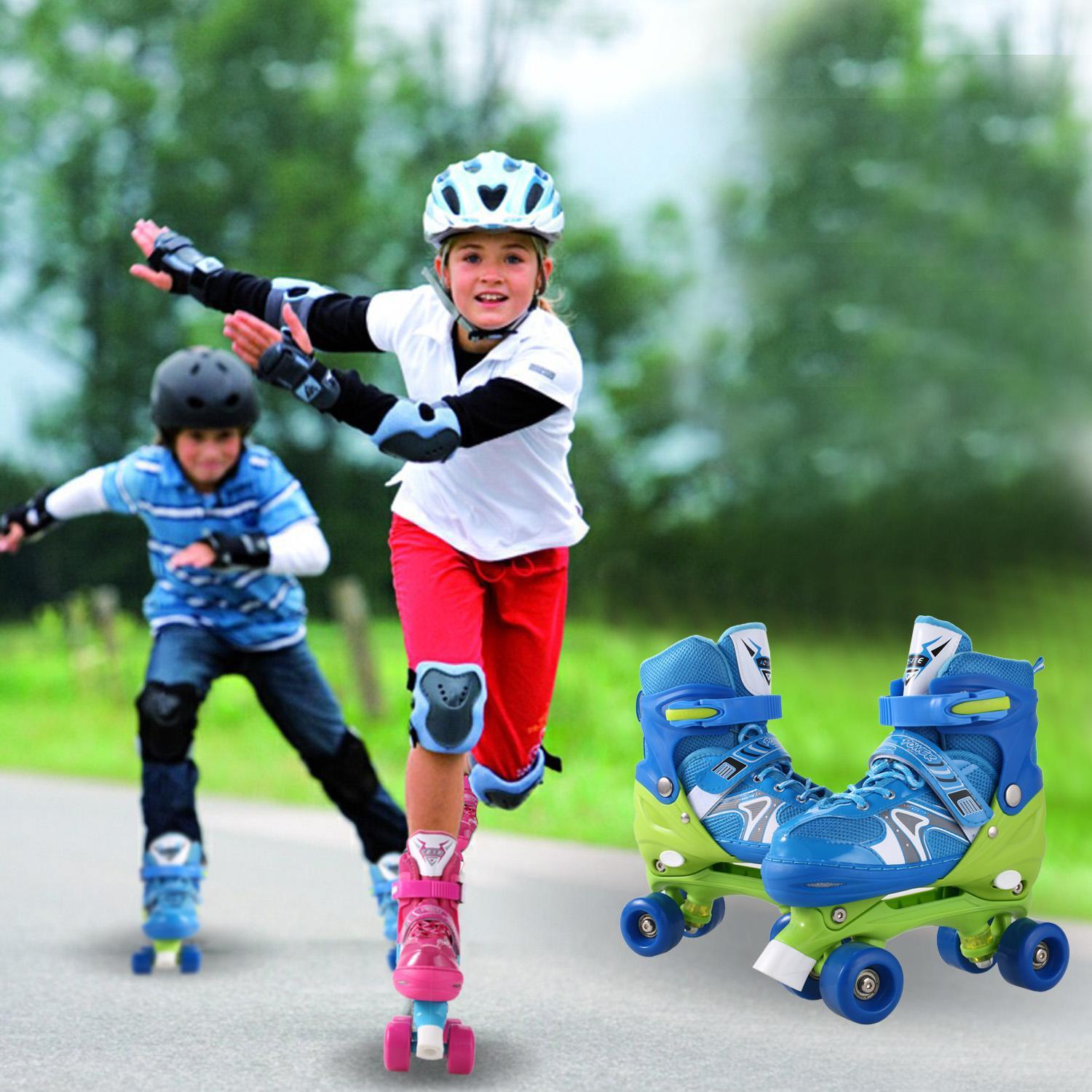 Double Row Skates for Boys and Girls PP and PVC Wheel Indoor Outdoor Roller Children Tracer Adjustable HPPY