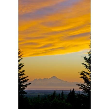 Sunset Clouds Blaze Orange Over Iliamna Volcano As Seen From The Hills Near Nikolaevsk On Kenai Peninsula Alaska Canvas Art   Bill Scott  Design Pics  22 X 34
