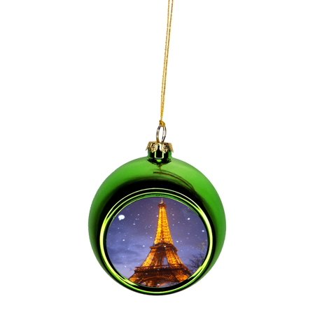 Eiffel Tower in the Snow Paris France At Night Bauble Christmas Ornaments Green Bauble Tree Xmas Balls - Walmart.com
