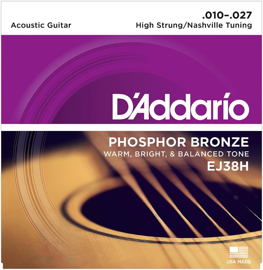 D'Addario EJ38H High Strung Nashville Tuning 10-27 Acoustic Guitar Strings by D'Addario