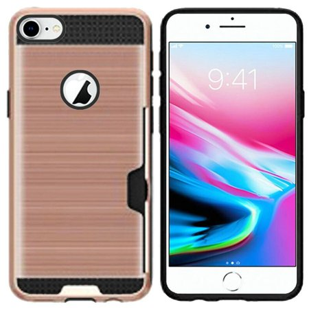 Insten PC/TPU Rubber ID/Card Slot Case Cover For Apple iPhone 8 - Rose Gold (Bundle with BasAcc MFI Certified Lightning Cable) - image 1 of 3