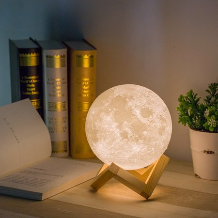 3D Printing LED Moon Night Light, Magical Moonlight Table Desk Lamp, Rechargeable Variable Light Control Energy-Saving Touch-sensitive Warm Moonlight Gift 5.9Inch