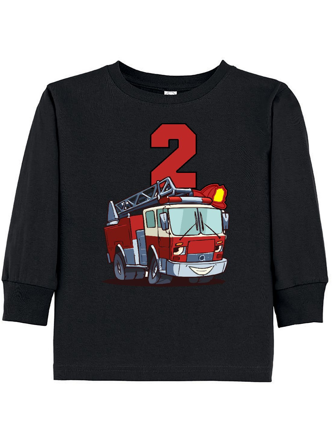 2nd Birthday Fire Truck Toddler Long Sleeve T-Shirt
