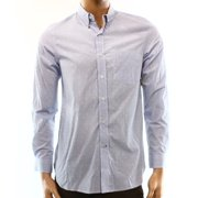 Club Room NEW Blue Mens Size Small S Dobby Check Grid Button-Front Shirt