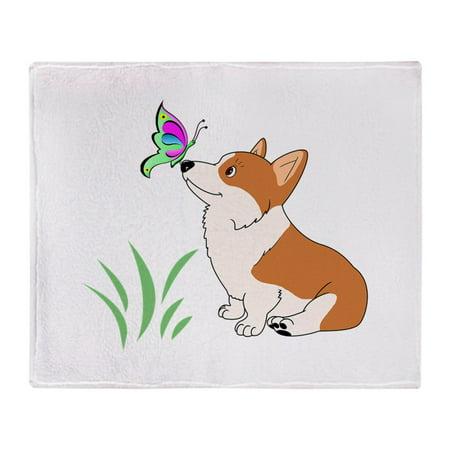 "CafePress - Corgi With Butterfly - Soft Fleece Throw Blanket, 50""x60"" Stadium Blanket"