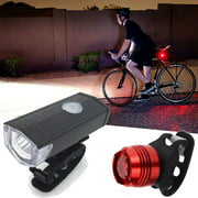 Super Bright USB Led Bike Bicycle Light Rechargeable Headlight &Taillight Set