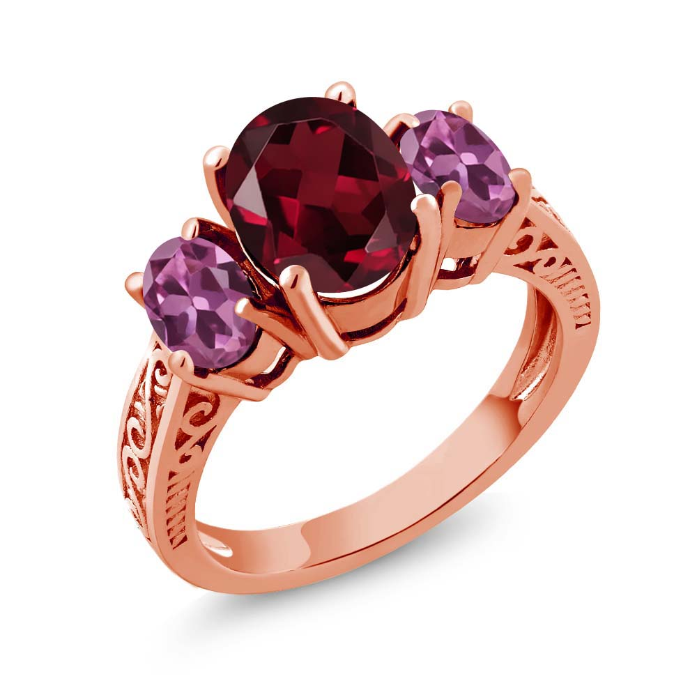 3.20 Ct Oval Red Rhodolite Garnet Pink Tourmaline 18K Rose Gold 3-Stone Ring by