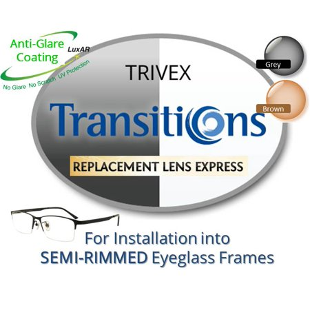 (Single Vision Transitions Trivex Prescription Eyeglass Lenses, Left and Right (One Pair), for installation into your own Semi-Rimless (grooved) Frames (Anti-Scratch & Anti-Glare Coating Included))