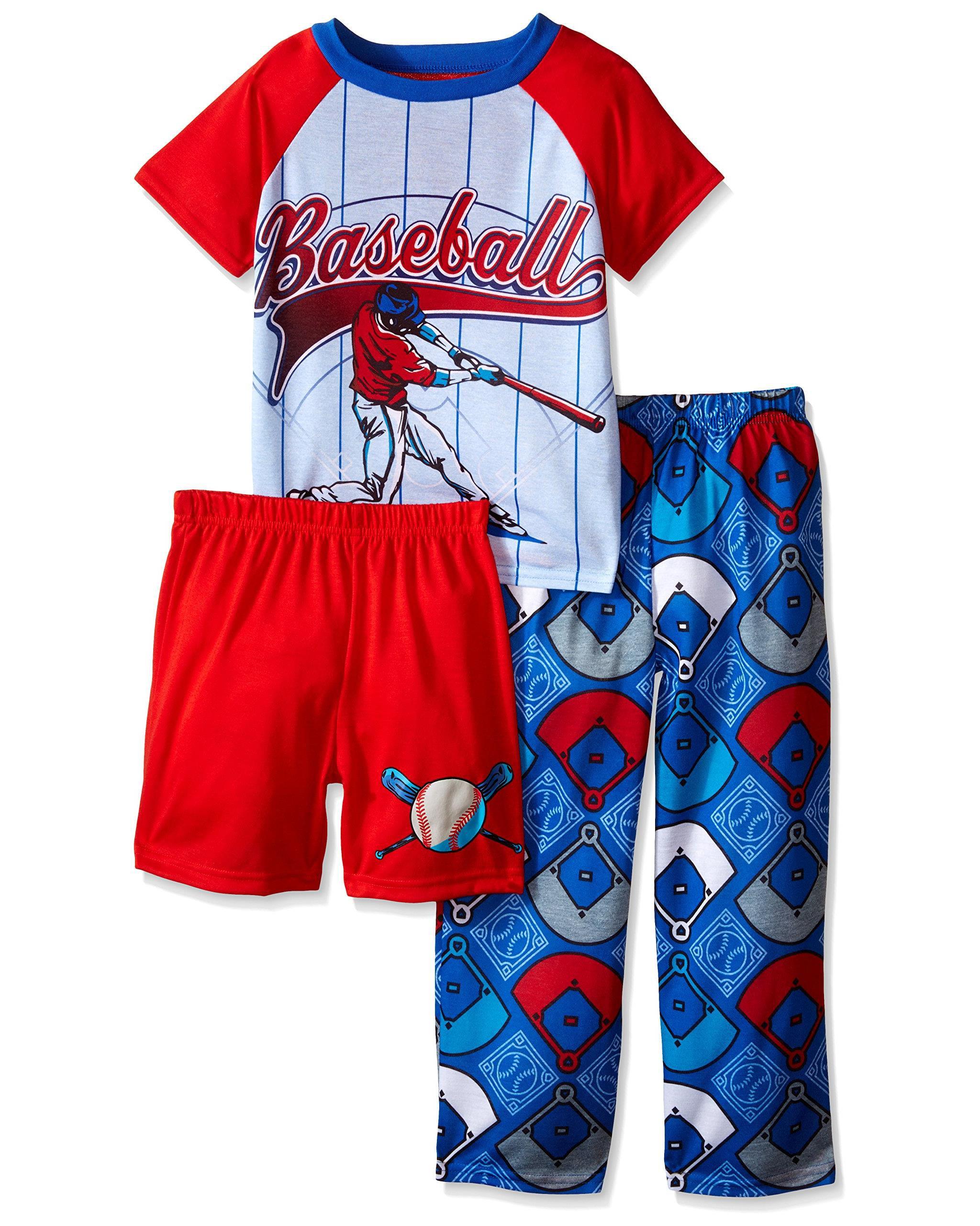 Komar Kids Boys' 3 Piece Sleepwear Set Baseball Set