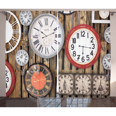 (Clock Decor Curtains 2 Panels Set, Antique Clocks on the Wall Instruments of Time Vintage Decorative Pattern, Window Drapes for Living Room Bedroom, 108W X 90L Inches, Brown and Red, by Ambesonne)