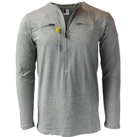 Men's Easy Port Access Chemo Shirt - Best Gift for Cancer Patients Grey