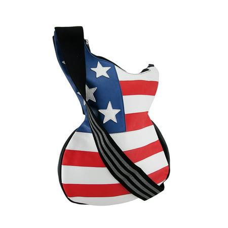 Stars and Stripes Guitar Shaped American Flag Cross Body Bag
