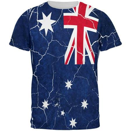 Australia Mens Beacon (Distressed Australian Flag All Over Mens T Shirt )
