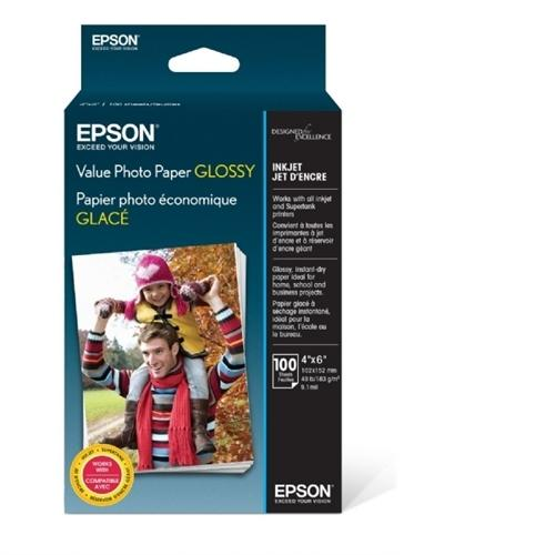 "Epson Value Photo Paper Glossy, 4""x6"", 100 Sheets S400034"