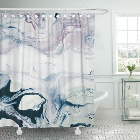 PKNMT Watercolor Aquatic Abstract Hand Creative Painting Artistic Canvas Color Craft Bathroom Shower Curtain 66x72 - Canvas Crafts