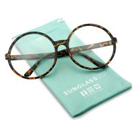 XL Oversize Round Vintage Inspired Clear Lens, Non Prescription Novelty, Fashion Eye Glasses