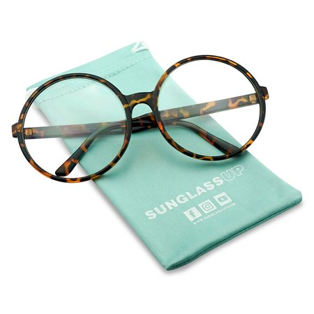 XL Oversize Round Vintage Inspired Clear Lens, Non Prescription Novelty, Fashion Eye (Small Round Tortoise Shell Sunglasses)