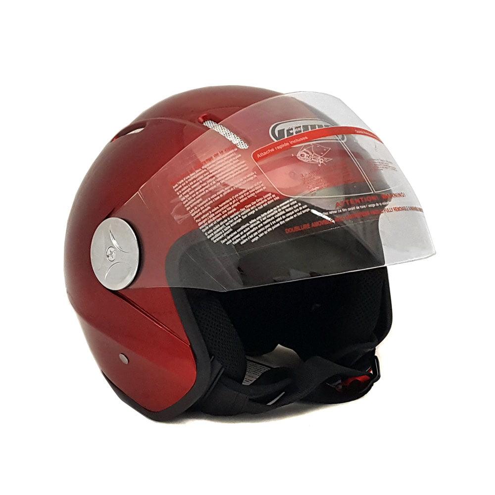 Motorcycle Scooter Open Face Helmet PILOT Flip Up Visor DOT - BURGUNDY GLOSSY FINISH - S