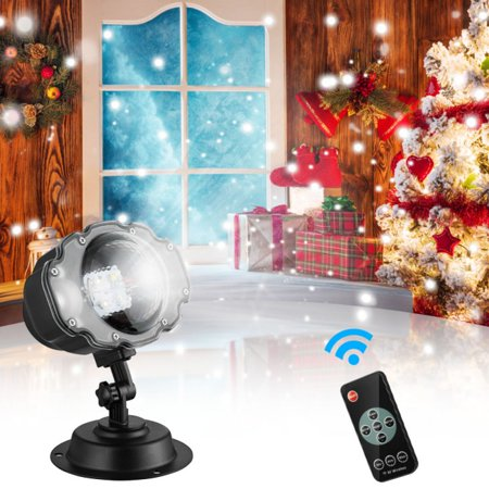 Snowfall LED Projector Light with Wireless Remote, IP65 Waterproof Rotatable White Snow for Valentines Day Christmas Halloween Holiday Party Wedding Garden New Year House Landscape Decoration