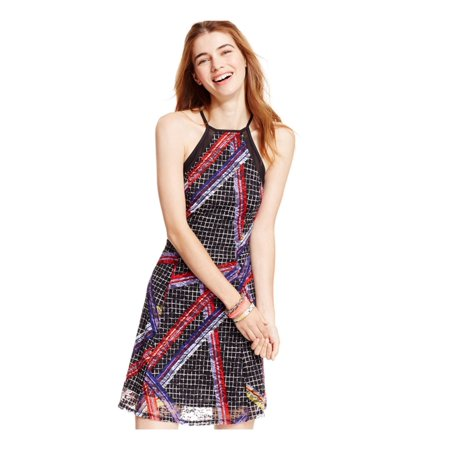 (Material Girl Womens Printed Illusion A-line Dress)