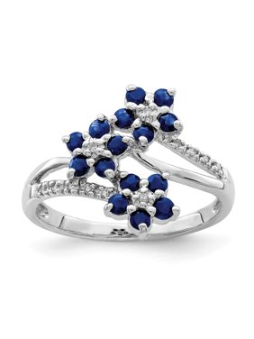 0.75ct Round Cut Sapphire 925 Sterling Silver Engagement Ring Size 6 for Womens