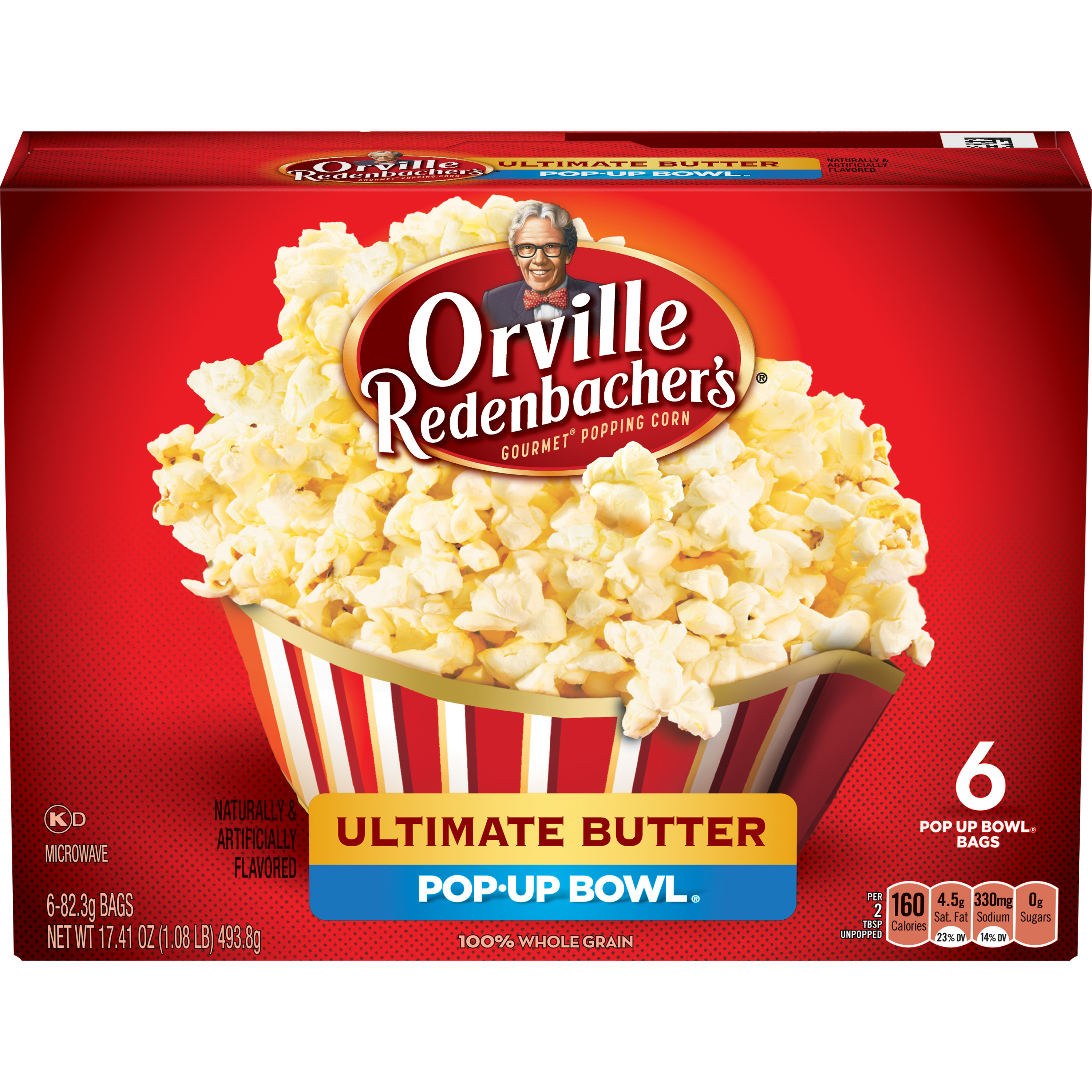 Orville Redenbacher's Ultimate Butter Microwave Popcorn, Pop Up Bowl, 6-Count