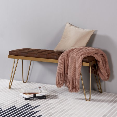 Versanora - Milford Bench - Aged Fabric/Brass