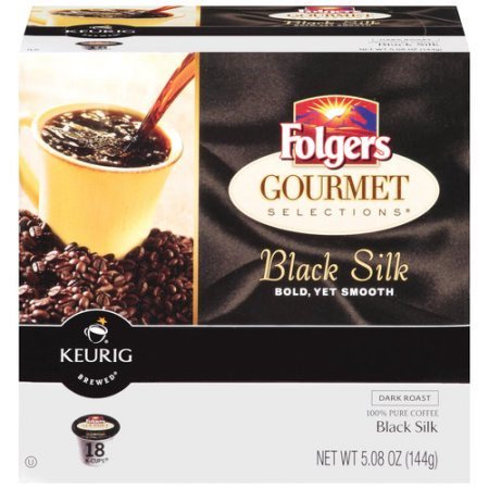 Folgers Gourmet Selections Dark Roast Coffee K-Cups, Black Silk, 18 Ct