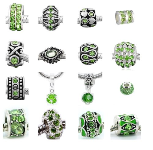 Ten (10) of Assorted Shades of Green Crystal Rhinestone Charm Beads. Compatible With Pandora Style Bracelets.
