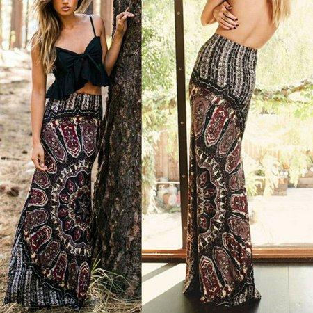 Womens Boho High Waisted Floral Bodycon Ladies Summer Long Maxi Skirt Dresses