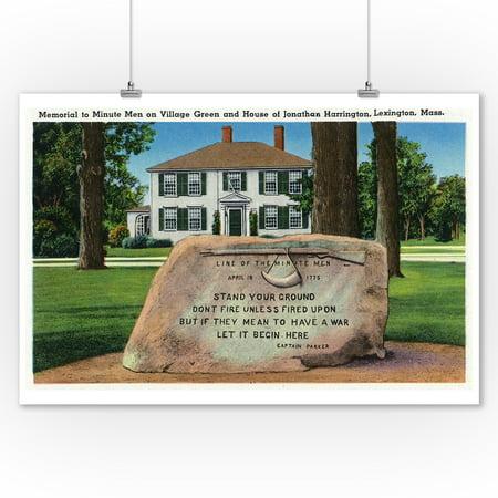 Lexington, MA - J. Harrington House, Village Green, Minute Men Memorial (9x12 Art Print, Wall Decor Travel Poster)