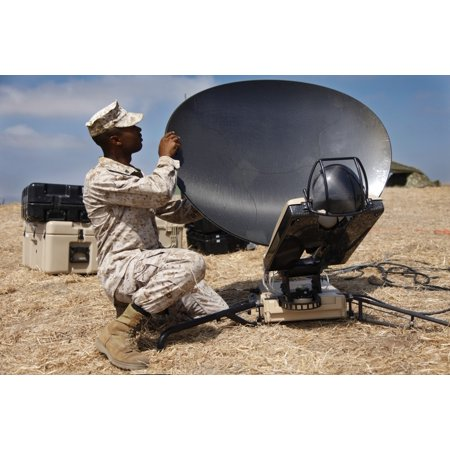 September 28 2011   Us Marine Assembles A Support Wide Area Network Satellite Dish During Training At Marine Corps Base Camp Pendleton California Poster Print