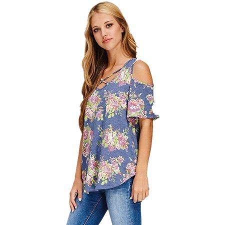 d987e2492fbc6a YONYWA - Flower Print Cold Shoulder Cotton T-shirt Women Casual Tops -  Walmart.com