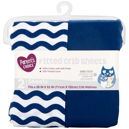 Parent's Choice 100% Cotton Fitted Crib Sheets, 2-Pack, Chevron Navy Blue