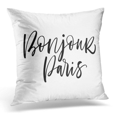 ARHOME Black Welcome Bonjour Paris Phrase Hello in French Ink Modern Brush Calligraphy White Abstract Pillows case 20x20 Inches Home Decor Sofa Cushion Cover