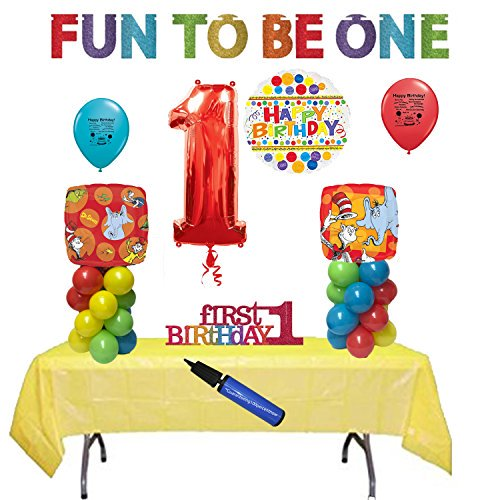 Dr Seuss Party Supplies 1st Birthday Party Balloon And Table Decoration Kit Walmart Com Walmart Com