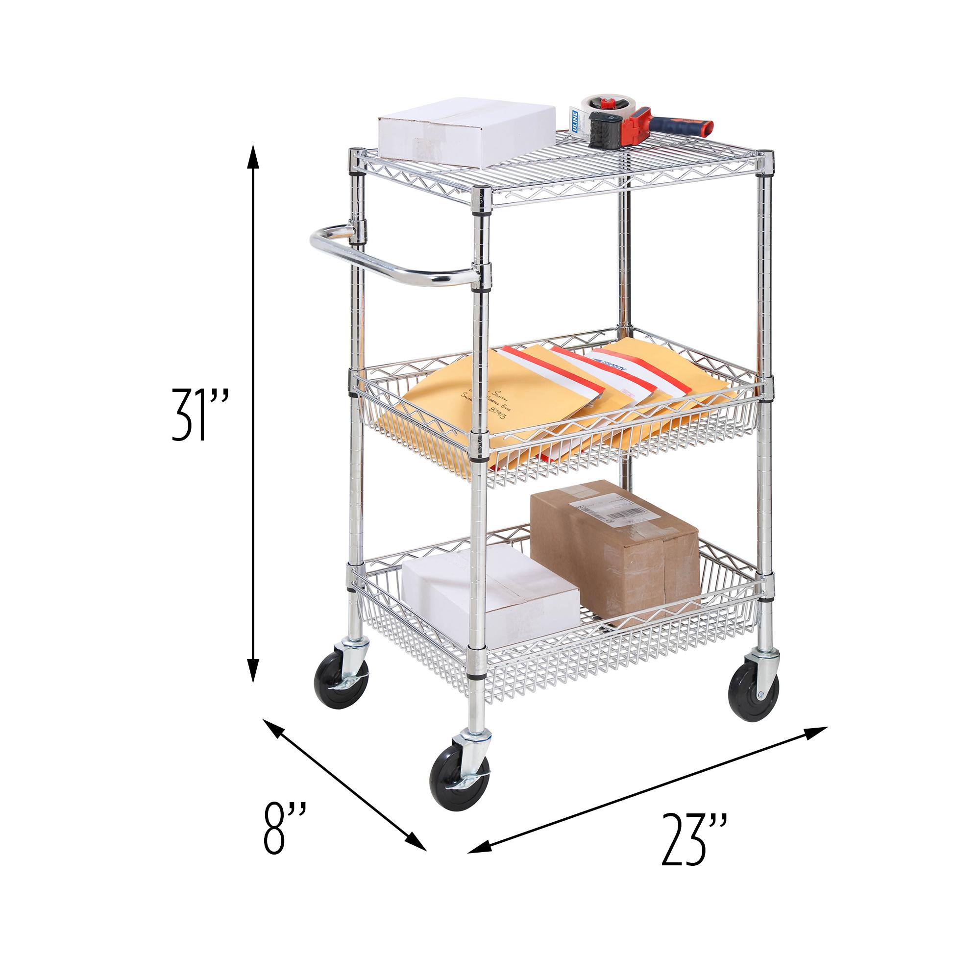 Honey Can Do 3-Shelf Urban Utility Rolling Cart, Chrome