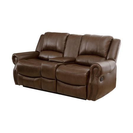 Kanan Mesa Camel Reclining Console Leather Loveseat