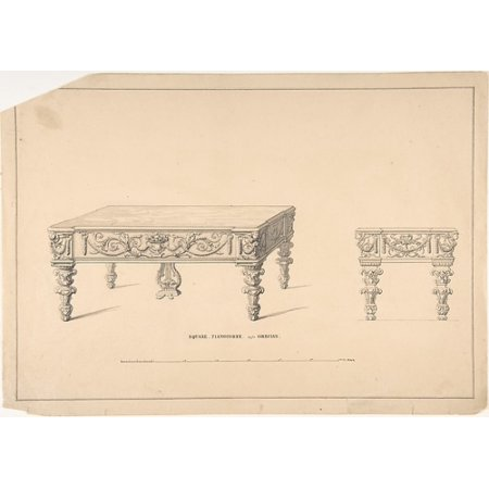 """- Design for Square Pianoforte Grecian Style Poster Print by Robert William Hume (British London 1816  """"1904 Long Island City) (18 x 24)"""