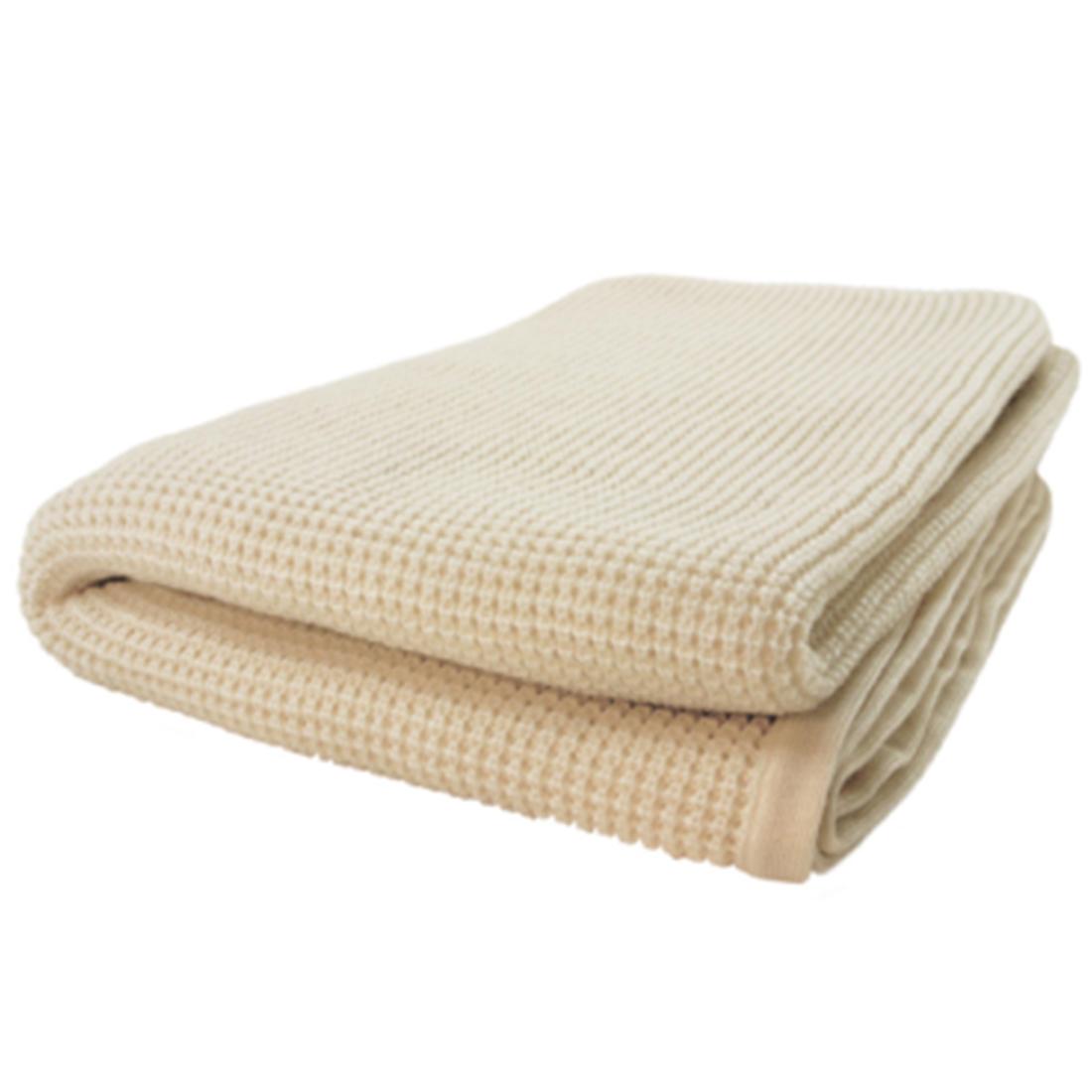 Indigo7 Authorized 50/50 Thermal Cashmere Wool Blend Throw Creme Fraiche