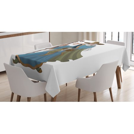 - Wizard Tablecloth, Fantasy Style Powerful Sorcerer with Staff Medieval and Mythical Cartoon Character, Rectangular Table Cover for Dining Room Kitchen, 52 X 70 Inches, Multicolor, by Ambesonne