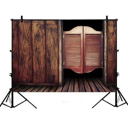 GCKG 7x5ft Vintage Saloon Wooden Wall Door Plank Floor Children Kids Baby PolyesterPhotographyBackdropPhotographyPropsStudioPhotoBoothProps - image 1 of 4