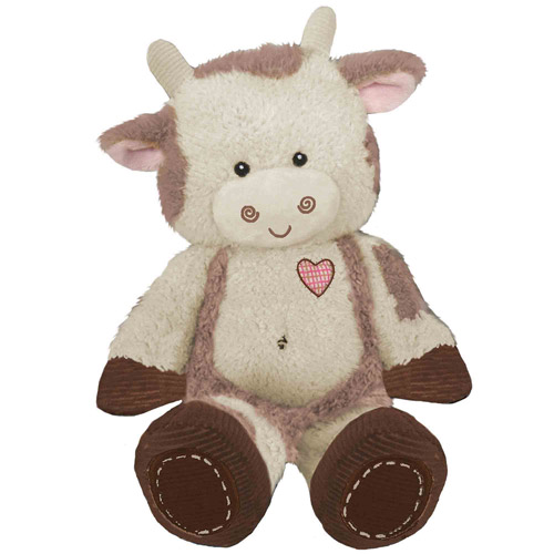 "First & Main Plush Stuffed Brown on White Cow, 8"" Sitting Position"