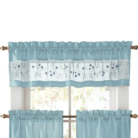 Embroidered Vines Fairfield Rod Pocket Kitchen Cafe Curtain, Valance, Blue