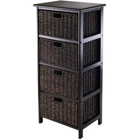 Omaha Storage Rack With 4 Foldable Baskets  Dark Espresso Chocolate